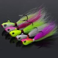 attire les gabarits achat en gros de-5 couleurs 14g-42g Bucktail Jig Lead Jigging Pêche Leurre Bucktail Pêche Cerf Cheveux Jigs couleurs mélangées disponibles livraison gratuite