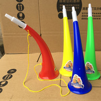 Wholesale kids pirate ships toys - 2018 World Cup Cheer Horn Cheeleading plastic Vuvuzela horn Kid Trumpet Toys for football soccer fans