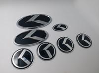 emblema kia preto venda por atacado-7 pçs / set ar K Logotipo Adesivo Decalque Vermelho / Preto Volante Emblema 60mm para KIA K Center Cap Emblema estilo do carro