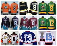 ingrosso pullover di hockey di moda-Anaheim Ducks 8 Teemu Selanne Maglie Hockey su ghiaccio Stadium Series Vinatge Fashion Team Colore Nero Bianco Rosso Verde Arancione Viola