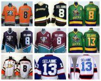 eishockey grüne trikots großhandel-Anaheim Ducks 8 Teemu Selanne Trikots Eishockey Stadium Series Vinatge Fashion Team Farbe Schwarz Weiß Rot Grün Orange Lila