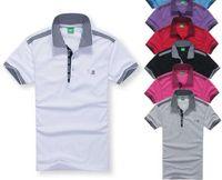 sıcak erkekler polos toptan satış-Tasarımcı Polo Gömlek Yaz Sıcak Satış Boss Yaka Polos Pamuk Gömlek Erkekler Kısa Kollu Spor Polo Çizgili Moda Rahat Yeni Yüksek Kalite