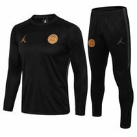 football jerseys al por mayor-Traje de entrenamiento de fútbol de alta calidad 2018 PSG manga larga MBAPPE CAVANI jersey 17 18 19 maillot de foot uniforme de fútbol de París ropa deportiva