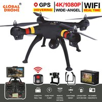 rc hover quadcopter venda por atacado-Global Drone GPS Dron 2.4G 6 Eixos One Key Return RC Helicóptero Hover Quadcopter Drone com Câmera 4K HD 1080 P VS SYMA X8PRO 101 S