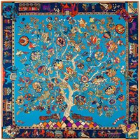 marca de lenço quadrado de seda venda por atacado-França Árvore Quadrada Floral Impressão Cachecol Designer de Marca de Luxo Mulheres H Xales Foulard Femme Azul Grande Sarja De Seda Lenços Dropshipping 130 * 130 CM