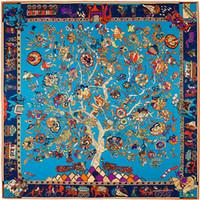 ingrosso grande sciarpa di seta blu-Francia quadrato albero floreale stampa sciarpa designer marchio di lusso donne H scialli Foulard Femme blu grande twill di seta sciarpe Dropshipping 130 * 130 cm