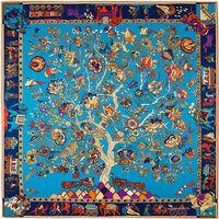 ingrosso grande sciarpa di seta blu-Sciarpa di seta con stampa floreale di albero quadrato Francia Sciarpe di seta con stampa floreale di Foulard Femme blu grande 130 * 130CM