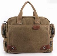 Wholesale Male Coffee - Hot Canvas Men's Shoulder Bags Office Briefcase Casual Handbags Male Messenger Crossbody Bag Cell Phone Pocket MW020