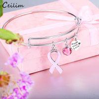 brustcharme großhandel-New Pink Ribbon Brustkrebs Awareness Survivor Charm Armband erweiterbar Draht Armreif Mut Hoffnung Geschenk für Frauen Großhandel
