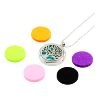 Wholesale Classic Pads - Essential Oil Diffuser Necklace Aromatherapy Diffuser Locket Pendant Set with 5 Color felt pads and 1 necklace chain free shipping(25styles)