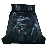 Wholesale queen size 3d bedding set online - Bedding Wolf Bedding Set Painting D Vivid Duvet Cover With Pillowcases Twill Cool Bed Set Twin UK CN US QUEEN King Size