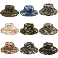 chapéus do exército dos meninos venda por atacado-Bucket Hats Cap Sniper Camuflagem Acessórios Do Exército Militar Caminhadas Chapéus selva Escalada cap 17 cores grandes meninos Chapéu do pára-sol C4329
