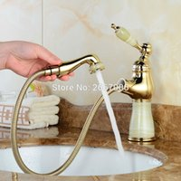Wholesale Ceramic Bathroom Wash Basin - Free Shipping High Level Basin Tap Brass Golden Bathroom Faucet Marble Faucet Pull Out Sprayer Washing Basin Water Taps ZR815