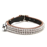 Wholesale Elastic Cat Collars - Free shipping Cat Baby Puppies Safety Elastic Adjustable with Bling Crystal Rhinestone and Bell Real leather puppy Collars S