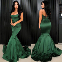 Wholesale Spaghetti Sexy Mermaid Elastic Satin Evening Gown Customize Half Backless Prom Dresses Sweep Train Formal Party Dress