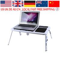 кулер для стола оптовых-Freeshipping портативный ноутбук Lap Desk Складная таблица E-Table Bed с USB-охлаждающими вентиляторами подставка TV Tray Lapdesks