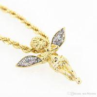 подвеска золотых сердец 18k оптовых-Ожерелье для Женщин Девушки Крыло Ангела 18 К Позолоченный Кулон Ювелирные Изделия в Форме Сердца, Украшенные Кристаллами из Ожерелья Мама Подарок D872L A