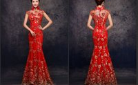Discount velvet qipao - High Neck Red Embroidery Phenix Qipao Mermaid Evening Gowns Long Qipao Cheongsam Chinese Traditional Dress Fish Tail Custom Made D02
