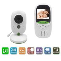 bebek interkom toptan satış-Yüksek kalite Kablosuz 2.0 inç Video Renk Bebek Monitörü Güvenlik Kamera Bebek Dadı Interkom Gece Görüş Sıcaklık Izleme