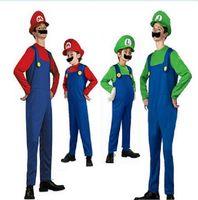 Wholesale mario bros brothers online - Super Mario Bros Cosplay Costume Set Adult Children Halloween Party MARIO Luigi Brothers Fancy Costume romper hat Beard KKA5689