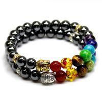 Wholesale Gold Black Onyx Bracelets - Natural Black Lava Onyx Hematite Stone Bead Charm Bracelets Women 7 Reiki Chakra Bracelet Healing Balance Bracelet For Men