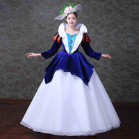 18th Century Victorian Gothic Renaissance Princess Colonial Period Floral Dress Blue Ball Gown Theater Costume 2018 Women Dresses F330