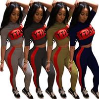 Wholesale Yellow Yoga Pants - 4 color tracksuit Women Short Sleeve Letter Print Plaid Crop Top Bodycon Long Pant Play suit EEA90