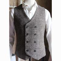 Wholesale men wedding vest style new for sale - New Arrival High Quality Man s Vest Double Breasted English Style Vintage Waistcoat Men Formal Dress Wedding Suit Vest