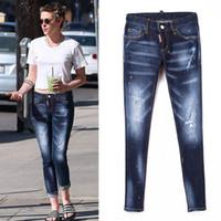 Wholesale Damaged Jeans - Women Denim Jean Bleach Wash Paint Damaged Jeans With Red Leath Patch Detail Sexy Twist Fit