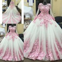 Wholesale best ball gown wedding dresses online - New Best Quality Custom Wedding Dresses With D Floral Appliques Sweep Train Ball Gown Bridal Wedding Gowns
