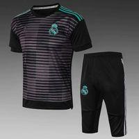 erkek futbol giyim toptan satış-En kaliteli 2018 2019 Real Madrid beyaz siyah kısa kollu şort RONALDO KROOS BENZEMA yeni futbol spor suit erkek eğitim kıyafetleri