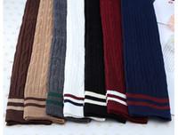 genoux bas filles achat en gros de-Filles printemps été doux filles coton longues chaussettes cuisse sur le genou bas jersey rayé cuisse chaussettes hautes