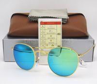 Wholesale flash drive boxes - Round Sunglasses Eyewear Sun Glasses Designer Gold Metal Frame Green Mirror 50mm Flash lens Glass Lenses For Mens Womens Better Brown Box
