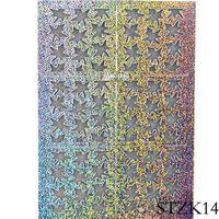 çivi çıkartması şablonları toptan satış-1 Sayfalık Akçaağaç Yaprağı Baskı Nail Art Hollow Stencil Sticker Lazer Gümüş Şablonlar DIY Izgara Nail Art Dekor Glitter Manikür LASTZK14