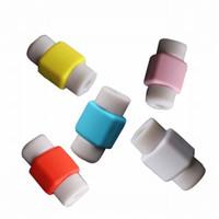 colores del cable de carga usb del iphone al por mayor-Protector de cable Línea de datos de colores Protector de cable Funda protectora Cubierta de enrollador de cable para iPhone Teléfono Cable de carga USB