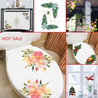 ingrosso decalcomanie rimovibili-2pcs / lot Fiori Wc Wall Stickers per auto Decalcomanie Adesivi rimovibili per bagno frigorifero vetrofanie 2018 new Christmas Decors