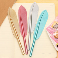 Wholesale cheap ballpoint pens - Beautiful Feather Pens Ballpoint Pen Writing For School Supplies Stationery Cheap Items Cute Kawaii Pen stationery items