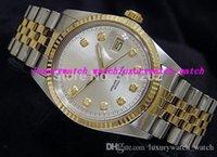 часы для двоих оптовых-Горячие продажи мужские часы браслет из нержавеющей стали 179173 69173 автоматический белый циферблат рифленый безель-сталь / золото дешевые благородные роскошные часы