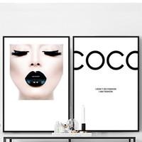 sexy gerahmte leinwand großhandel-Moderne Mode COCO Leinwand Malerei Sexy Girl Poster und Drucke Wandkunst Bild Für Wohnzimmer Wohnkultur Schwarz Lippen Kein Rahmen
