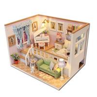 luzes de casas de bonecas de madeira venda por atacado-Hoomeda m026 diy casa de bonecas de madeira por causa de você em miniatura casa de boneca luzes led engraçado presente handmade para crianças adulto