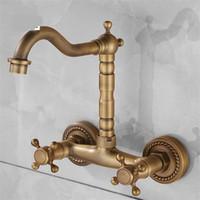 banyo armatürü döner ağızlı toptan satış-Vintage Bakır Su Dokunun Duvar Montaj Tipi Mutfak Banyo Lavabo Bataryası Çift Kolu Döner Borulu Ev Için Hydrovalve 100yj BB