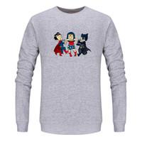 ingrosso cappelli invernali di batman-Moda giovane stampa O-Collo Pullover Felpe Batman Superman Battle Huntress 95% Cotone Plus Velluto Autunno Inverno No Hat Coat S-3XL