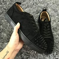 Wholesale flat bottomed white sneakers online - New Low Cut Suede Spiked Toe Casual Flats Red Bottom Luxury Shoes For Men and Women Party Designer Sneakers Famous Brand