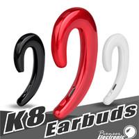 bouchons d'oreilles écouteurs sans fil achat en gros de-K8 casque sans fil bluetooth Business écouteurs voiture mains libres micro oreille conduction casque sans bouchons d'oreilles écouteurs pour iphone Samsung package