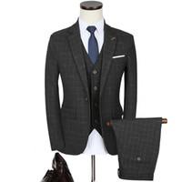 черные официальные мужские куртки оптовых-Men's Black Plaid Suits & Blazer New Male Formal Wear Wedding Party Dress Clothing Suits Suit Jackets+Pants+Vest