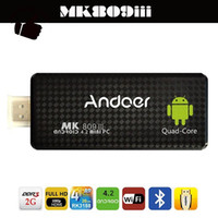 android hdmi stick четырехъядерный оптовых-MK809III Bluetooth Android 4.4 TV Stick Dongle приемник HD мини-ПК четырехъядерный процессор ARM Cortex A9 Rockchip rk3188t 1.4 ГГц 2G 8G