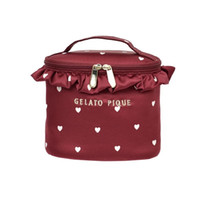 Wholesale travel bag online - 2018 New style Sweet love White canvas lace Fashion and leisure stereo make up bag travel handbag Zipper Wine bag RR1802