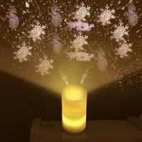 projetores de vela venda por atacado-Novas luzes do projetor de Natal Árvore Floco De Neve Velas Sem Chama com controle remoto Novidade Rotary LED Night Light Para Kid Xmas Party