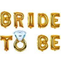 дюймовое алюминиевое кольцо оптовых-16 дюймов алюминиевая фольга воздушный шар невеста быть бриллиантовое кольцо воздушные шары английское письмо Свадебный декор Airballoon горячие продажи 5 2ak BB