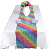 mesa de mantel de lentejuelas al por mayor-Nuevo diseño 28 * 180 cm mantel de lentejuelas arcoíris unicornio camino de mesa mantel de fiesta mantel de fibra de poliéster para fiesta de cumpleaños